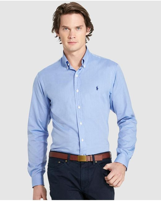 Polo Ralph Lauren - Mens Plain-coloured Blue Slim-fit Shirt for Men - Lyst