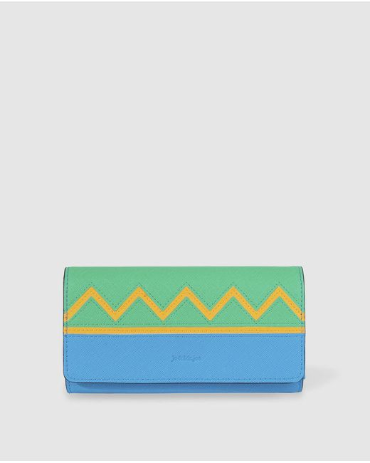 Jo & Mr. Joe Even Large Blue Printed Wallet With Fold-over Flap