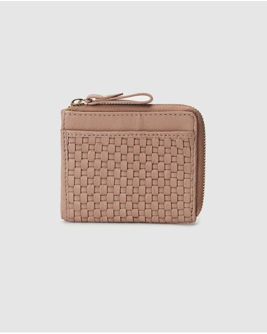 El Corte Inglés Pink Plaited Leather Card Holder
