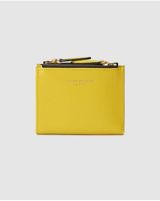 Kurt Geiger Mini Yellow Leather Wallet With Fastener