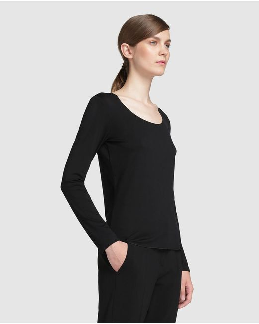 Armani | Black Long Sleeve T-shirt With A Rounded Neckline | Lyst