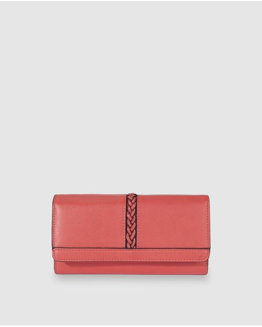 El Corte Inglés Pink Large Coral Wallet With Buttoned Flap