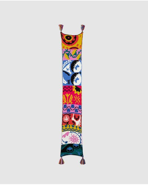 Desigual Multicolor Full Energy Knitted Scarf With Combined Print And Tassels