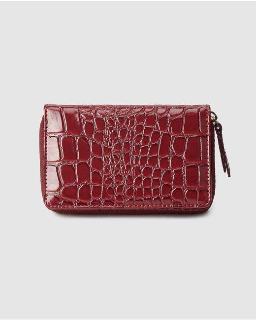 El Corte Inglés Red Medium Burgundy Embossed Leather Wallet With Fastener