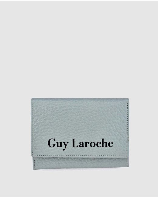 Guy Laroche Small Pale Blue Grained Leather Wallet With Fastener