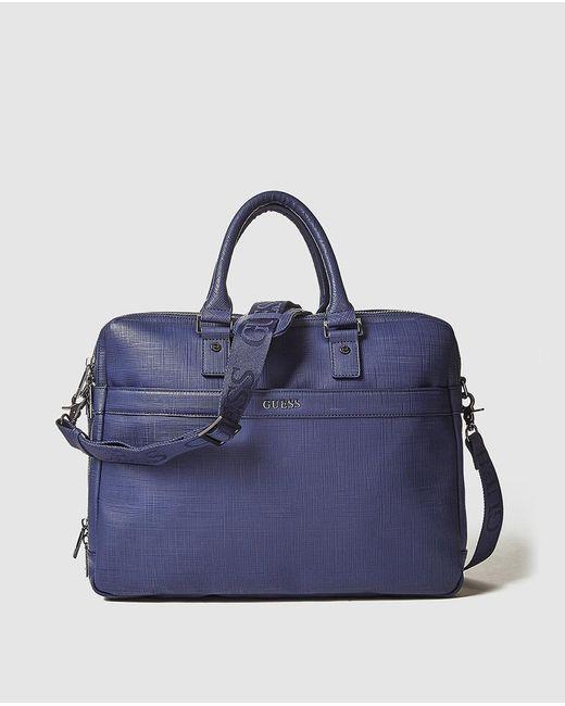 Guess Blue Saffiano Effect Briefcase