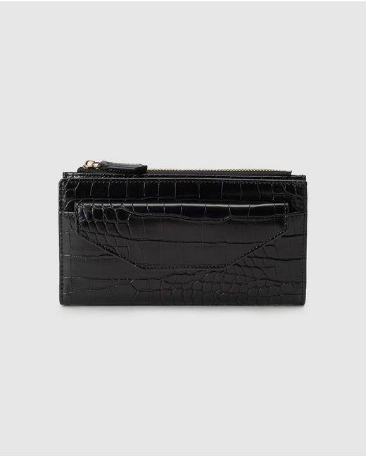 El Corte Inglés Large Black Embossed Wallet With Fastener