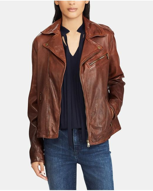 Lauren by Ralph Lauren - Brown Leather Jacket - Lyst
