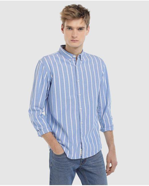 GREEN COAST - Blue Striped Slim-fit Oxford Shirt for Men - Lyst