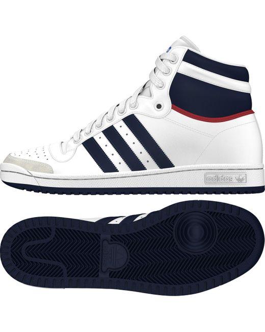 adidas Originals Leather Top Ten Hi Casual Trainers in White
