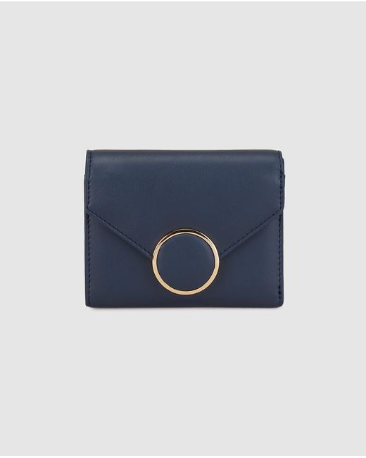 El Corte Inglés Wo Small Navy Blue Wallet With Flap