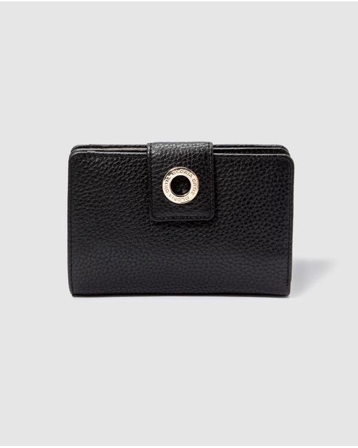 Gloria Ortiz Epona Small Black Leather Wallet With Fastener