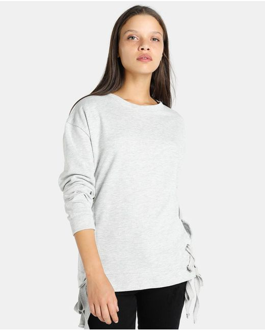 GREEN COAST | Gray Long Sleeve Sweatshirt With Lace-up Tie | Lyst