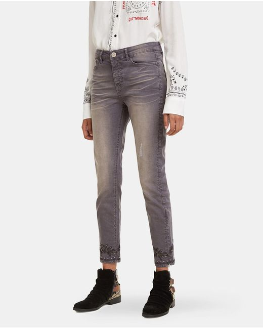 Desigual Gray Skinny Jeans With A Plain-coloured Print