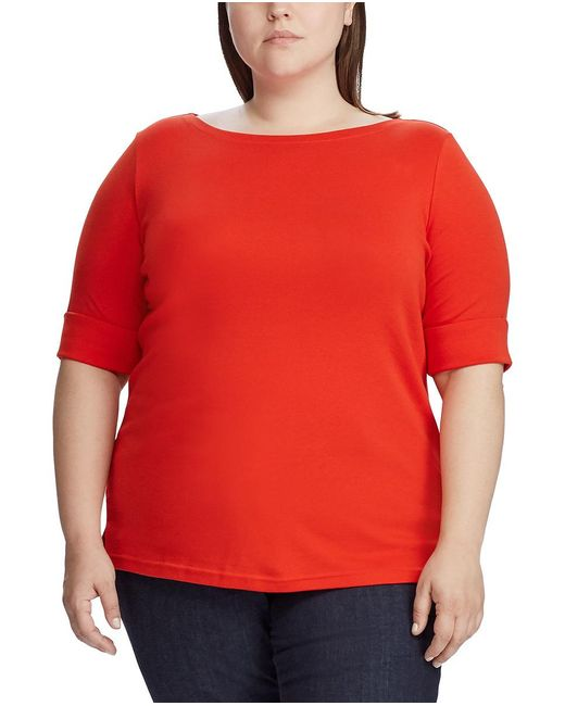 Denim & Supply Ralph Lauren Orange Plus Size Knitted T-shirt