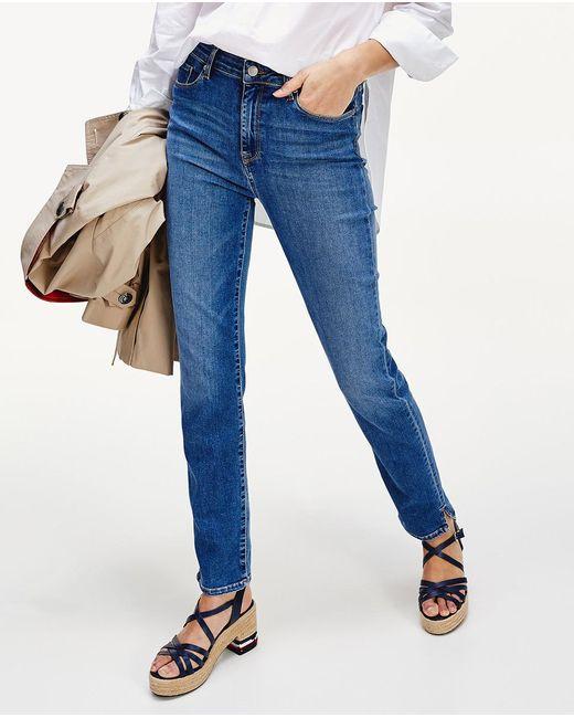 Tommy Hilfiger Blue Wo Straight Leg Five-pocket Jeans