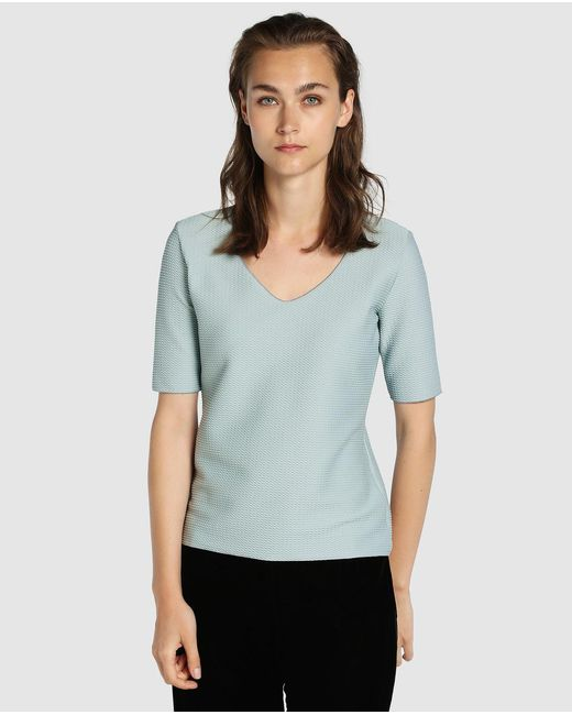 Armani | Gray Short Sleeved T-shirt With A Rounded Neckline | Lyst