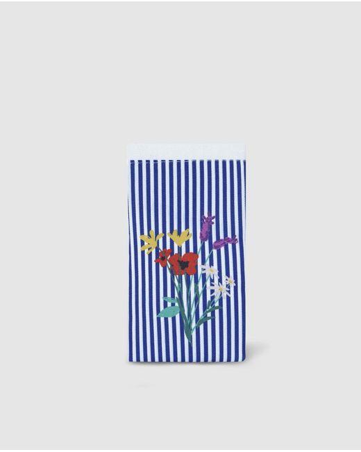 El Corte Inglés Blue Striped Glasses Case With Flowers