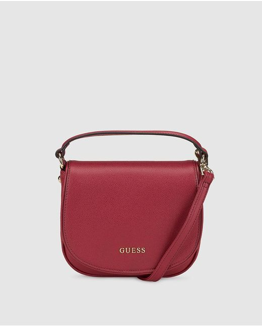 Guess | Red Burgundy Messenger Bag With Saffiano Effect | Lyst