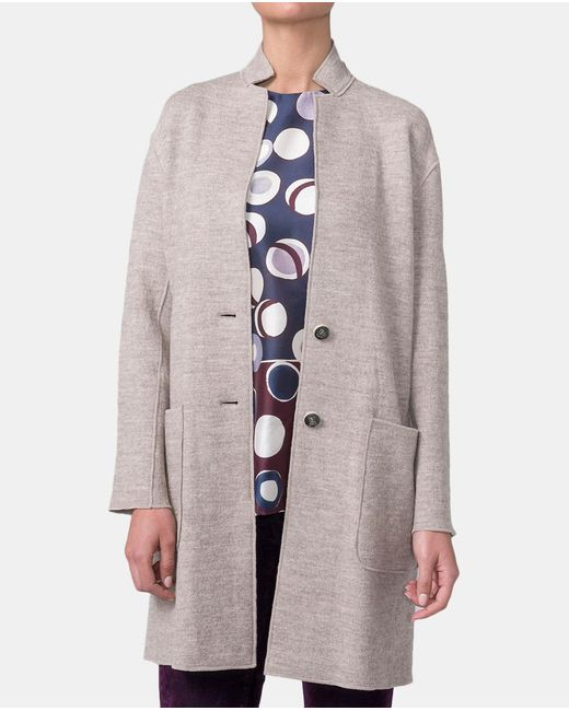 Mirto - Natural Wool Coat With Two Pockets - Lyst