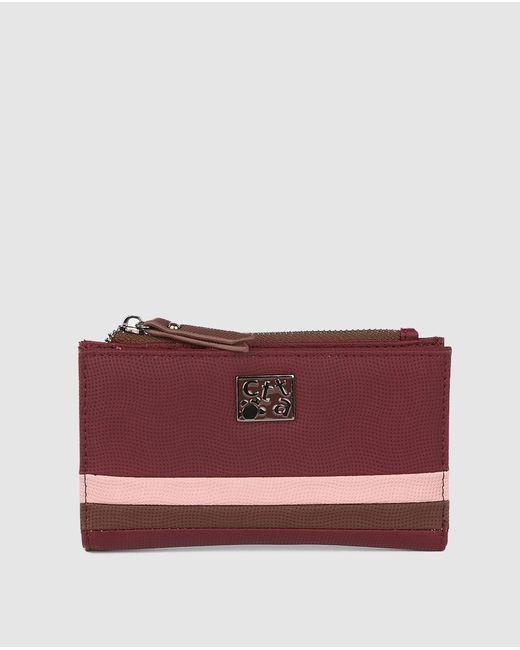 Caminatta Purple Medium Burgundy Wallet With Fastener