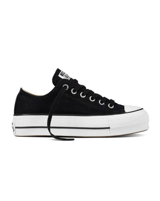 Converse - Black Chuck Taylor All Star Lift Platform Low Canvas Casual  Trainers - Lyst e01a3f42a