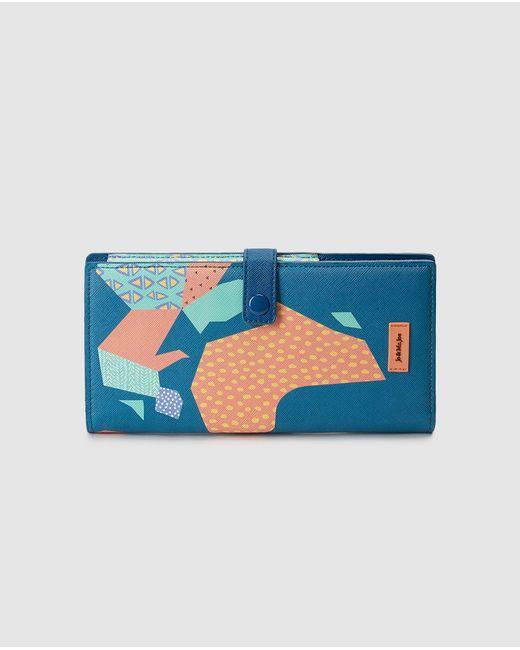 Jo & Mr. Joe Blue Printed Travel Wallet With Fastener