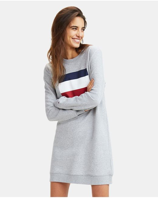 Tommy Hilfiger Gray Dress With Large Flag Motif On Front