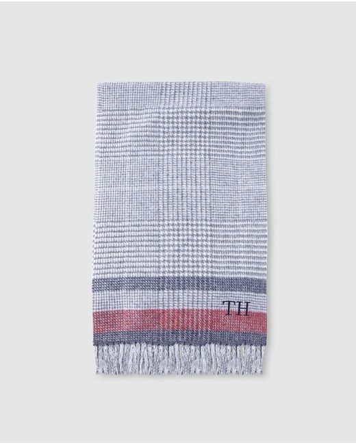 Tommy Hilfiger Gray Mens Grey Checked Wool Scarf for men