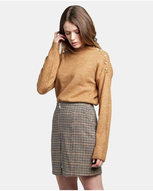 Vero Moda - Multicolor Hounds-tooth Check Skirt With Zip - Lyst