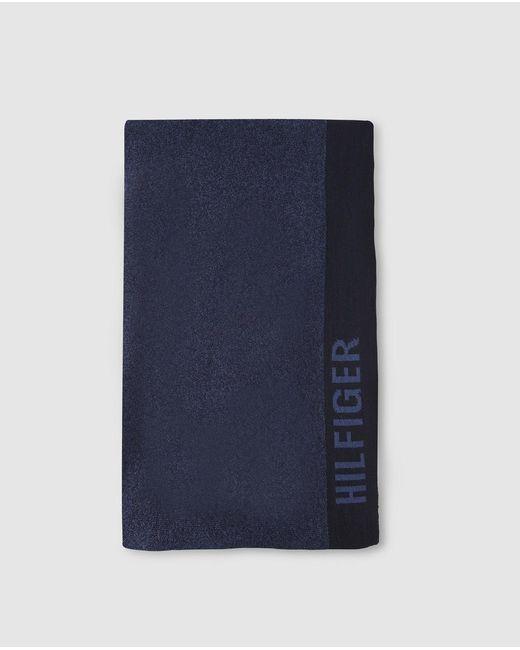 Tommy Hilfiger Mens Navy Blue Scarf With Logo for men