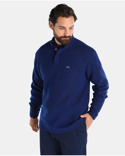 Lacoste Big And Tall Jumper With A Polo Neck In Blue For