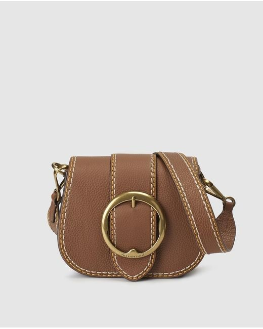 Polo Ralph Lauren - Brown Camel-coloured Cowhide Leather Mini Crossbody Bag - Lyst