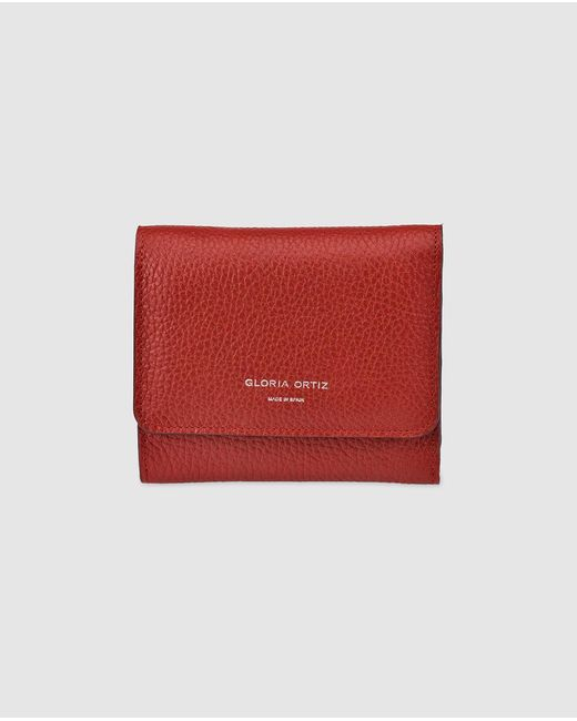 Gloria Ortiz Adele Small Red Leather Wallet With Fastener