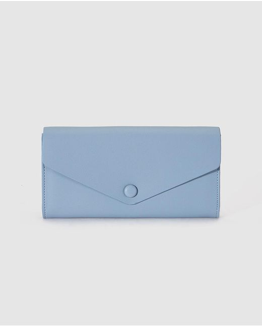 El Corte Inglés Large Blue Wallet With Flap And Fastener