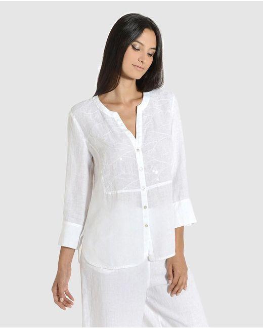 120% Lino Camisa De Mujer Manga Francesa Sin Cuello de color blanco zRSJO