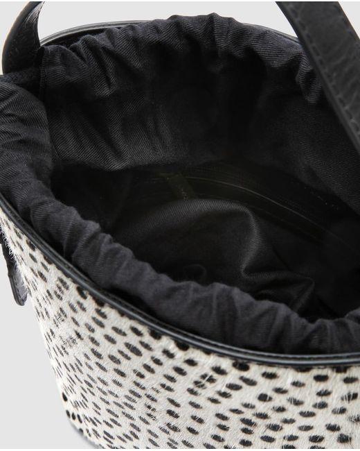 Bandolera Mini De Mujer De Piel En Blanco Con Lunares Negros Jo & Mr. Joe de color Black