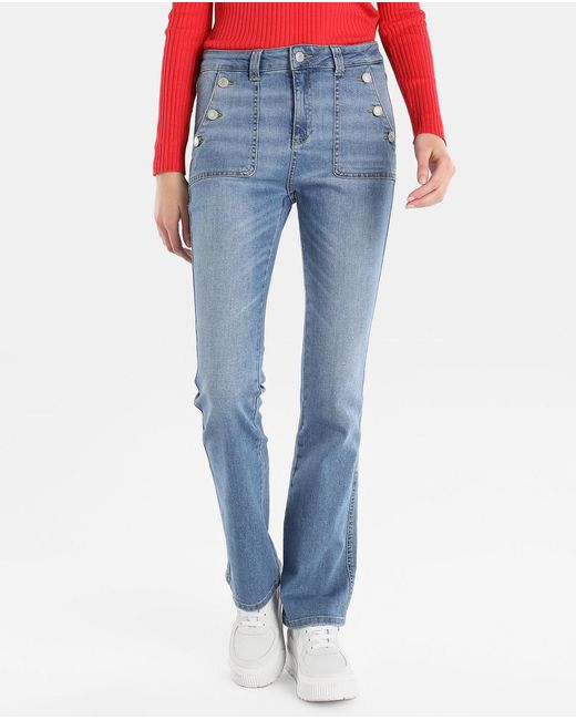 GREEN COAST - Blue Bell-bottom Jeans With Buttons - Lyst