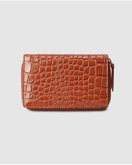 El Corte Inglés Medium Brown Embossed Leather Wallet With Fastener