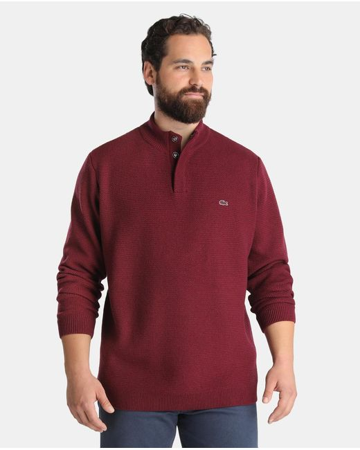 Lacoste Big And Tall Maroon Polo Neck Jumper In Red For