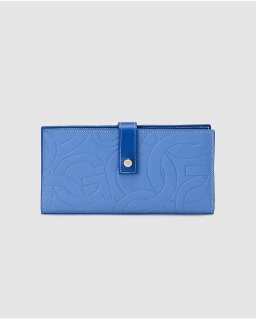 Gloria Ortiz Sofia Stamp Large Blue Leather Wallet With Tab And Fastener