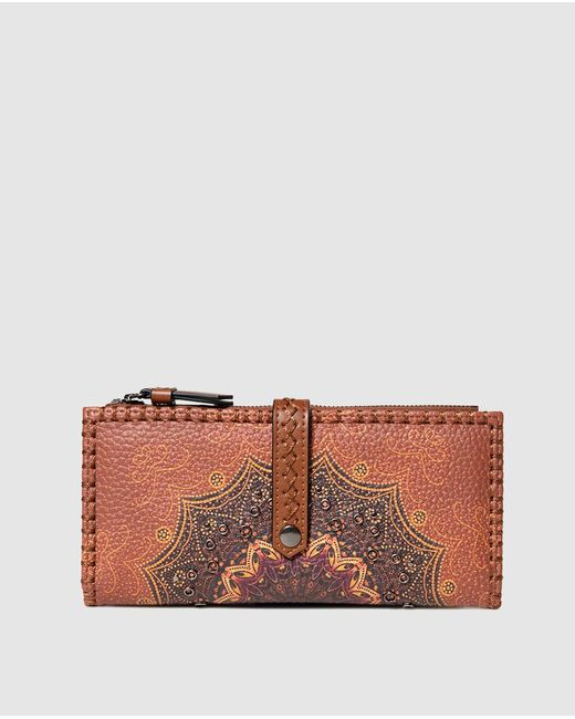 Desigual Tekila Sunrise Large Brown Printed Wallet With Tab And Fastener