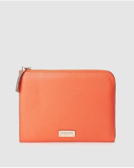 Pouch Grande Erin De Piel En Coral Con Cremallera Gloria Ortiz de color Orange
