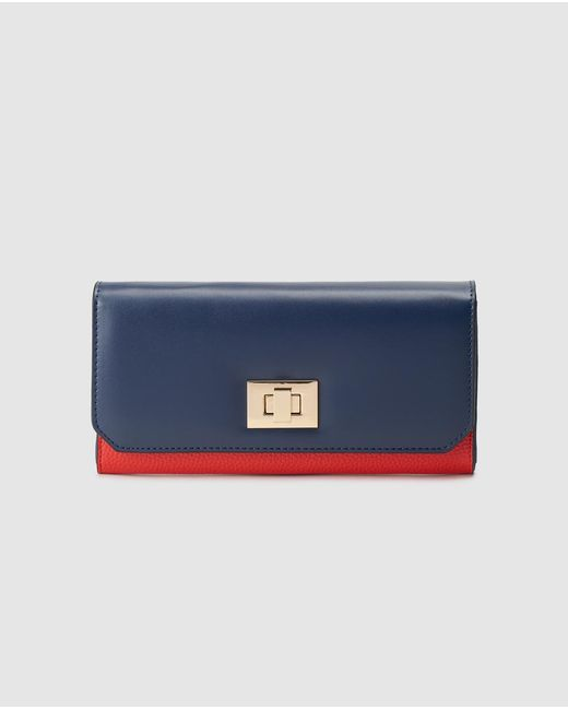 El Corte Inglés Large Navy Blue And Red Wallet With Fastener