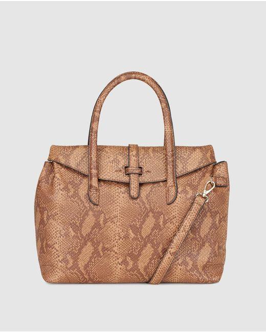 El Corte Inglés - Large Brown Handbag With Snakeskin Effect - Lyst