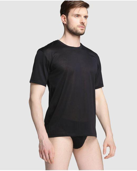 Hanro - Black Short Sleeved Mercerised Cotton Vest for Men - Lyst