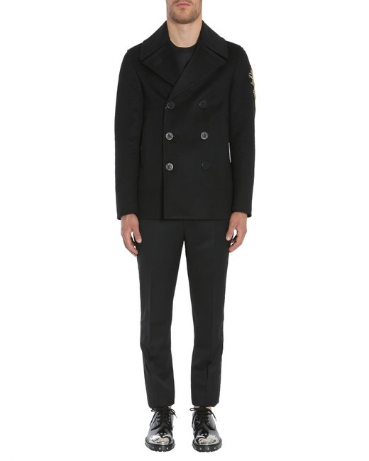 Alexander McQueen - Black Embroidered Virgin Wool And Cashmere Caban for Men - Lyst