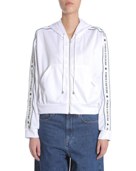 Forte Couture White Short Hooded Sweatshirt With Logo Band