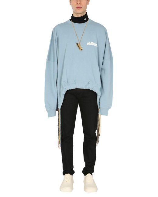 Ambush Blue Crew Neck Cotton Sweatshirt With Logo Print for men