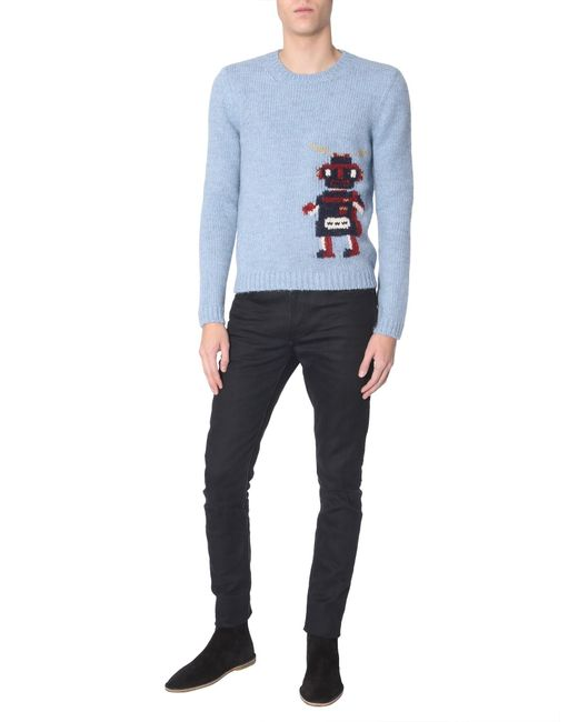 b9d17d784 Saint Laurent Robot Jacquard Sweater in Blue for Men - Save 1% - Lyst